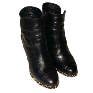 Authentic Chanel Calf Leather Chain Boots Size 37